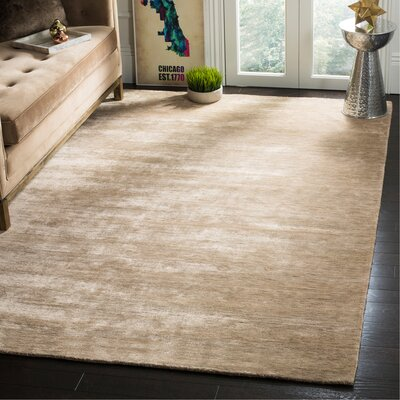 Alaina Hand-Loomed Sandstone Area Rug Rug Size: Rectangle 6 x 9