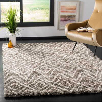 Cammie Gray/Ivory Area Rug Rug Size: Rectangle 9 x 12