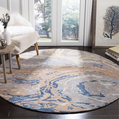 Ayana Hand-Tufted Gray Area Rug Rug Size: Round 6