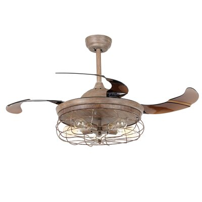 42.5 Benally 4 Blade Ceiling Fan with Remote Finish: Weather Wood Col