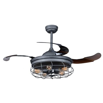 42.5 Benally 4 Blade Ceiling Fan with Remote Finish: Antique Gray