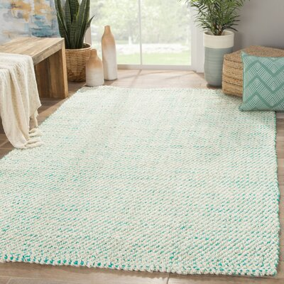 Alcott Hand Loomed White/Aqua Area Rug Rug Size: Rectangle 10 x 14