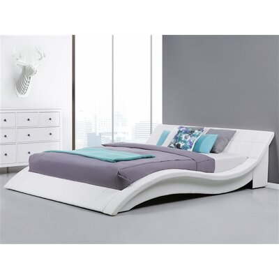 Iwan Upholstered Sleigh Bed Color: White, Size: Queen
