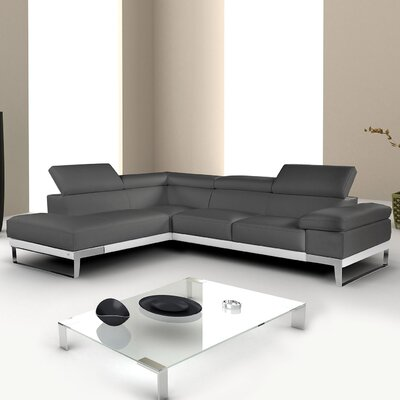 Callensburg Leather Sectional Upholstery: Gray, Orientation: Right Hand Facing