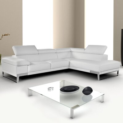 Callensburg Leather Sectional Upholstery: Optical White, Orientation: Right Hand Facing