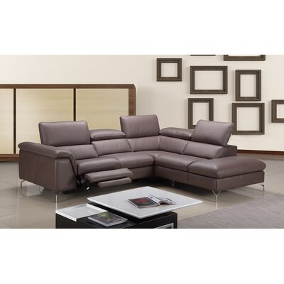 Florie Premium Leather Sectional Orientation: Right Hand Facing