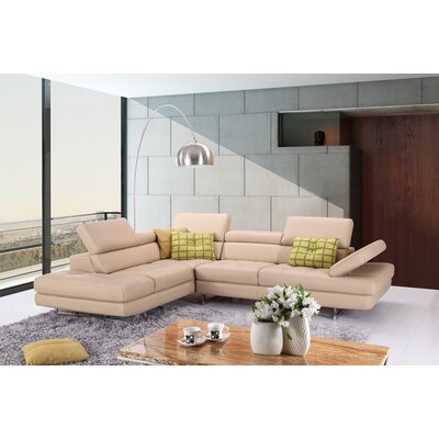 Piero Leather Sectional Orientation: Left Hand Facing