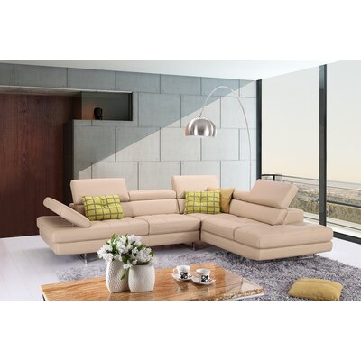 Piero Leather Sectional Orientation: Right Hand Facing