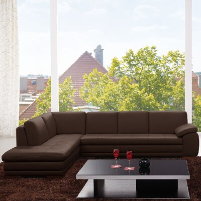 Flynn  Leather Sectional Orientation: Left Hand Facing