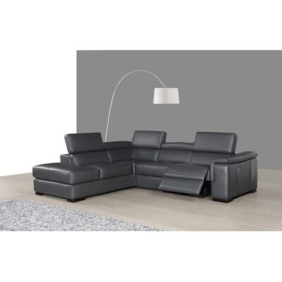 Catawissa Leather Reclining Sectional Orientation: Left Hand Facing