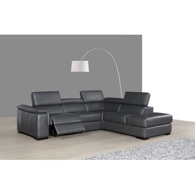 Catawissa Leather Reclining Sectional Orientation: Right Hand Facing