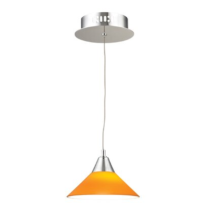Wilton 1-Light Inverted Pendant Base Finish: Chrome, Shade Color: Red