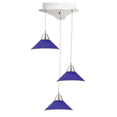 Wilton 3-Light Mini Pendant Base Finish: Chrome, Shade Color: Blue