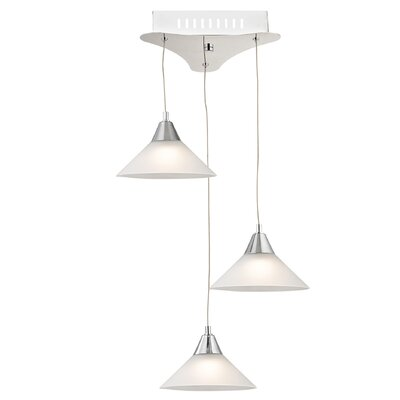 Wilton 3-Light Cascade Pendant Shade Color: White, Base Finish: Satin Nickel
