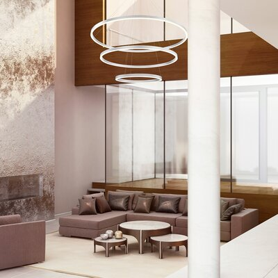 Beverlee Contemporary 3-Light LED Drum Chandelier