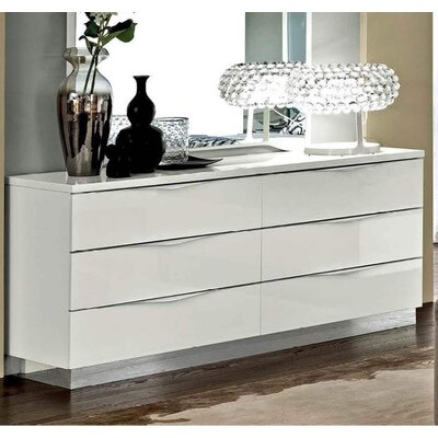 Edwards 6 Drawer Double Dresser Color: White