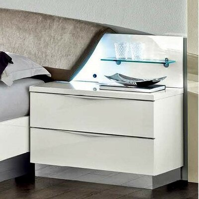 Edwards 2 Drawer Nightstand Finish: White