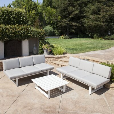 Grace Outdoor Aluminum 3 Piece Deep Seating Group with Cushion Frame Finish: White