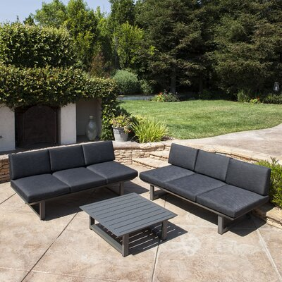 Grace Outdoor Aluminum 3 Piece Deep Seating Group with Cushion Frame Finish: Dark Gray