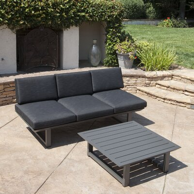 Grace 2 Piece Outdoor Aluminum Deep Seating Group with Cushion Frame Finish: Dark Gray