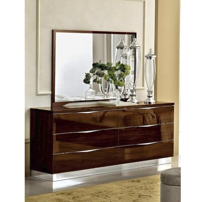 Edwards 6 Drawer Double Dresser with Mirror Color: Walnut