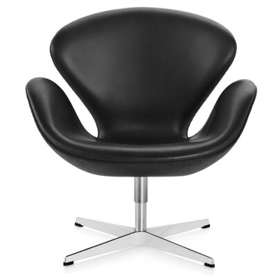 Murphey Leather Armchair Upholstery: Black