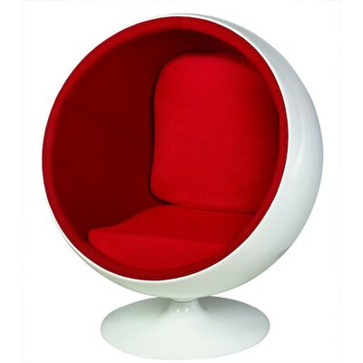 Kirksey Ball Swivel Balloon Chair Upholstery: Red, Size: 52 H x 36 W x 26 D