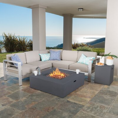 Kit 5 Piece Lounge Seating Group with Cushions Finish: Gray