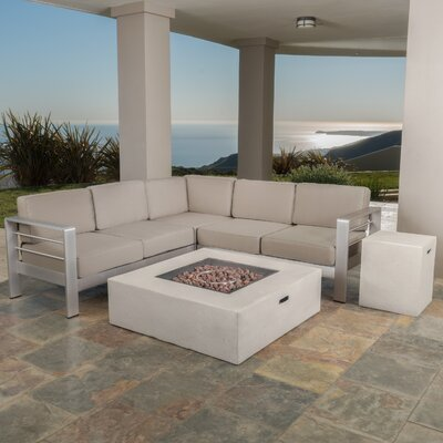 Kit 5 Piece Lounge Seating Group with Cushions Finish: White