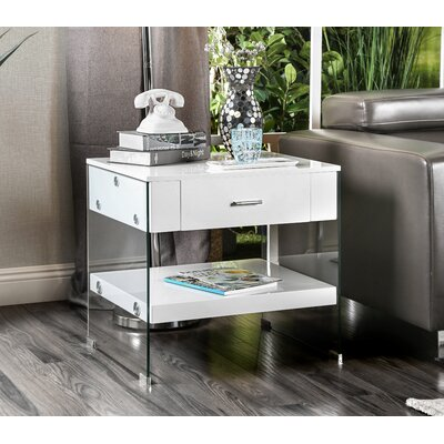 Destanee Contemporary End Table Finish: White