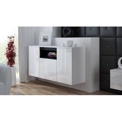 Finley Sonoma Oak Sideboard Color: White Gloss/Black Gloss