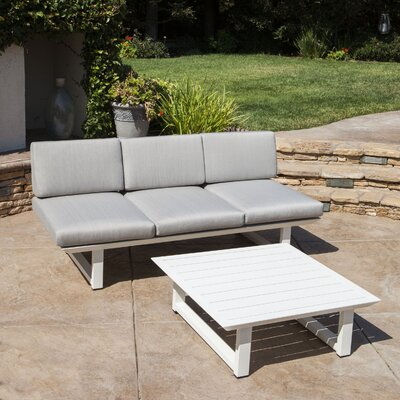 Grace 2 Piece Outdoor Aluminum Deep Seating Group with Cushion Frame Finish: White