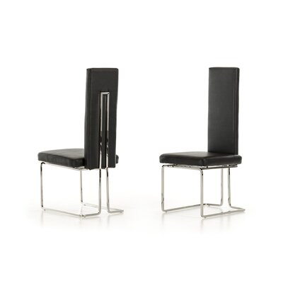 Clower Upholstered Dining Chair Upholstery Color: Black