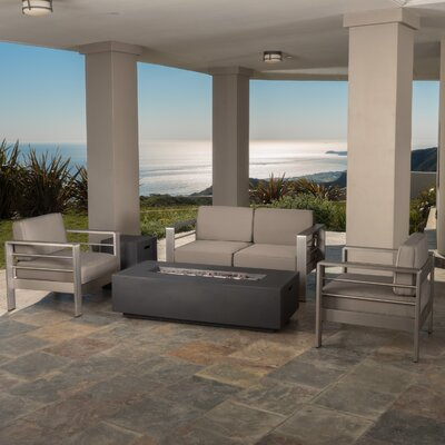 Kit Aluminum 5 Piece Lounge Seating Group with Cushions Finish: Gray