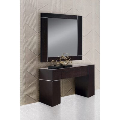 Clower Wall Console with Mirror Finish: Dark Wenge