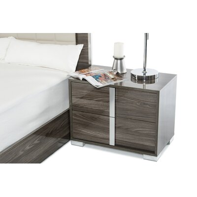 Demaria 2 Drawer Nightstand Color: Gray, Orientation: Left Facing