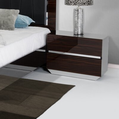 2 Drawer Solid Wood Nightstand Finish: Ebony
