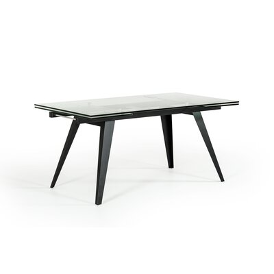 Clower Contemporary Extendable Glass Top Dining Table