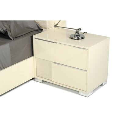 Dorinda�Modern 2 Drawer Nightstand Color: Beige, Orientation: Left Facing