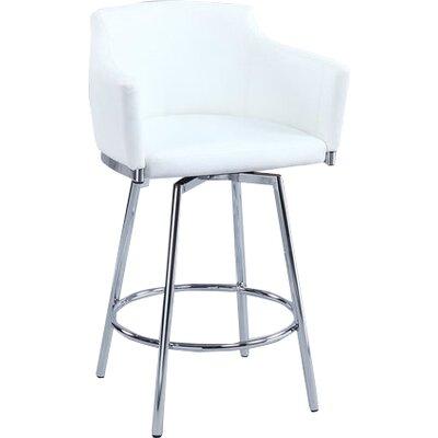 Carressa 26 Swivel Bar Stool Upholstery: White
