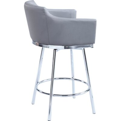 Carressa 26 Swivel Bar Stool Upholstery: Gray