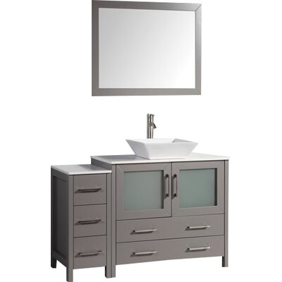 Karson 48 Single Bathroom Vanity Set with Mirror Base Finish: Gray