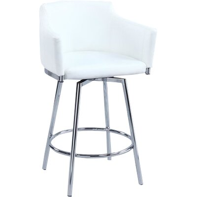 Carressa 30 Swivel Bar Stool Upholstery: White