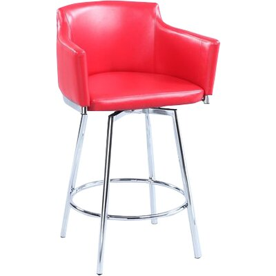 Carressa 26 Swivel Bar Stool Upholstery: Red
