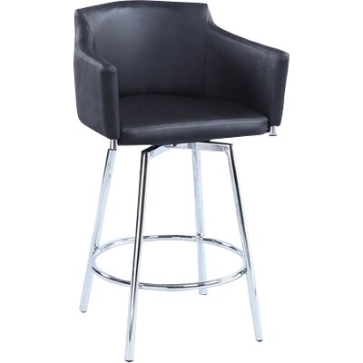 Carressa 30 Swivel Bar Stool Upholstery: Black