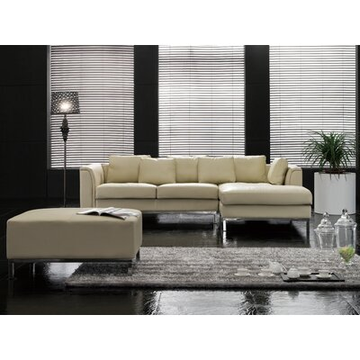 Tachani Leather Corner Sectional Upholstery: Beige, Orientation: Right Hand Facing
