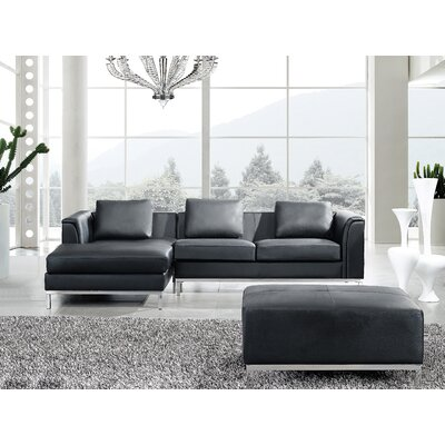 Tachani Leather Corner Sectional Upholstery: Black, Orientation: Left Hand Facing