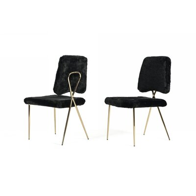 Simone Upholstered Dining Chair Upholstery Color: Black