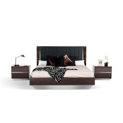 Decastro Upholstered Panel Bed Size: Eastern King, Color: Ebony