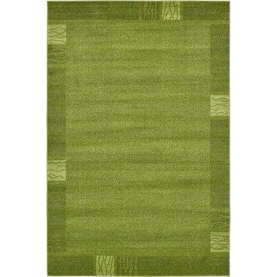 Christi Green Color Bordered Area Rug Rug Size: Rectangle 6 x 9